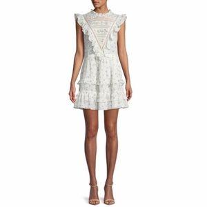 Rebecca Taylor floral ruffle mini dress. New.
